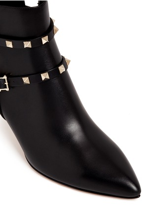 Detail View - Click To Enlarge - Valentino - 'Rockstud' double strap leather boots
