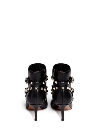 Back View - Click To Enlarge - Valentino - 'Rockstud' double strap leather boots