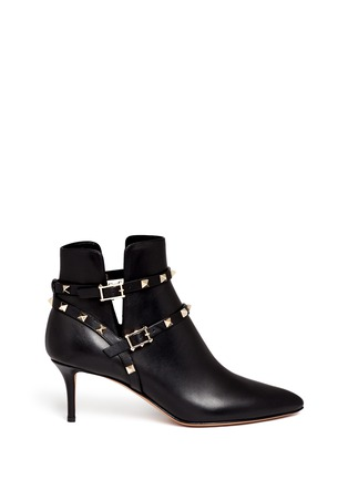 Main View - Click To Enlarge - Valentino - 'Rockstud' double strap leather boots