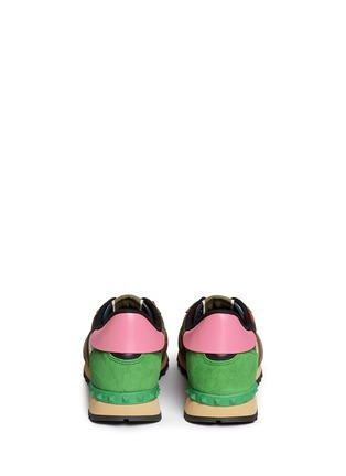 Back View - Click To Enlarge - Valentino - Camouflage leather suede sneakers