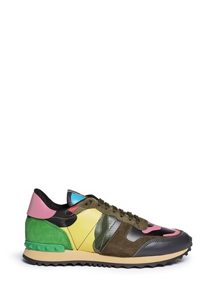 Main View - Click To Enlarge - Valentino - Camouflage leather suede sneakers