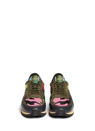 Figure View - Click To Enlarge - Valentino - Camouflage leather suede sneakers