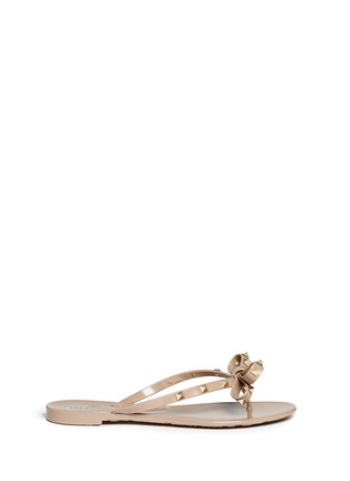 Main View - Click To Enlarge - Valentino - 'Rockstud' bow flat jelly sandals