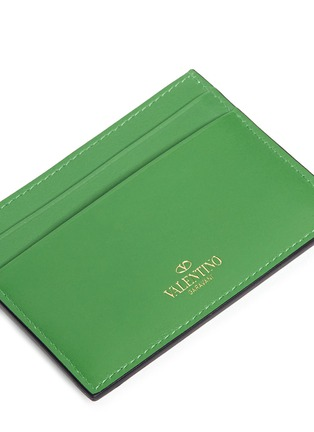 Detail View - Click To Enlarge - Valentino - 'Rockstud' leather cardholder