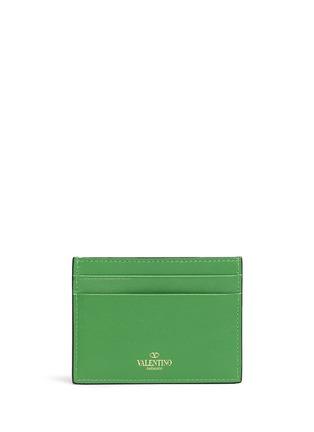 Back View - Click To Enlarge - Valentino - 'Rockstud' leather cardholder