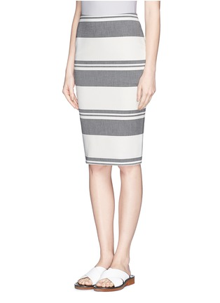 Front View - Click To Enlarge - Elizabeth and James - 'Aisling' variegated stripe pencil skirt