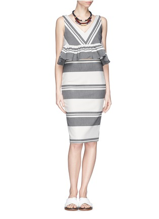 Figure View - Click To Enlarge - Elizabeth and James - 'Aisling' variegated stripe pencil skirt
