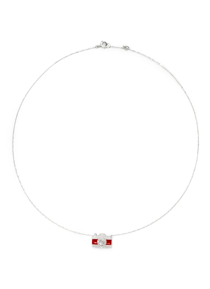 Little Camera 18k gold diamond moonstone necklace by Bao Bao Wan