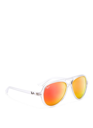Figure View - Click To Enlarge - Ray-Ban - Matte acetate aviator mirror sunglasses