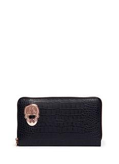THOMAS WYLDECroc embossed zip-around long wallet