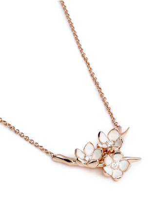 模特儿示范图 - 点击放大 - SHAUN LEANE - Small branch pendant diamond and cultured pearl necklace