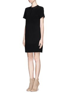 RAG & BONE Becker leather collar shift dress