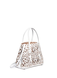 Alaïa 'Marguerite' floral lasercut metallic layered leather tote