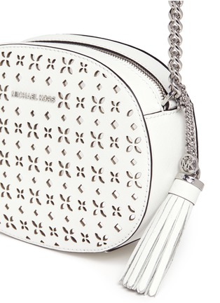 - Michael Kors - 'Ginny' medium floral perforated leather crossbody bag