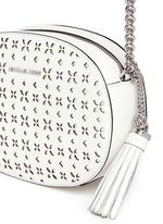'Ginny' medium floral perforated leather crossbody bag