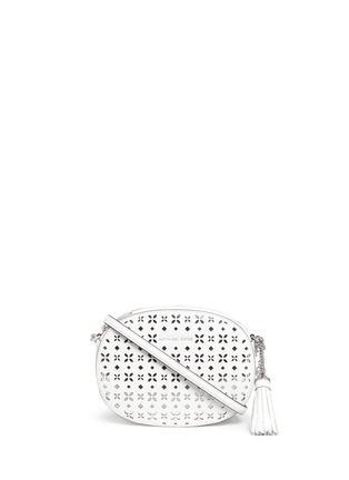 Main View - Click To Enlarge - Michael Kors - 'Ginny' medium floral perforated leather crossbody bag