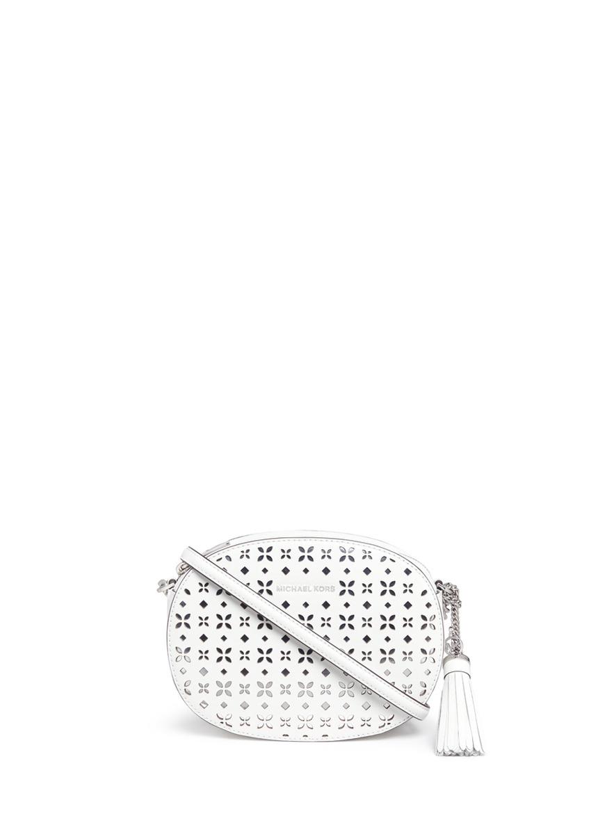 michael kors female ginny medium floral perforated leather crossbody bag