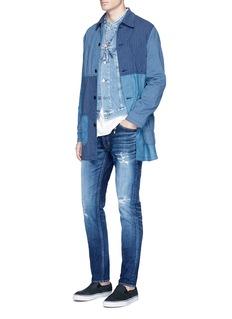 FDMTL'Figure CS30' sashiko stitch ripped skinny jeans