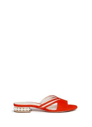 Main View - Click To Enlarge - Nicholas Kirkwood - 'Casati Pearl' cutout chevron suede slide sandals