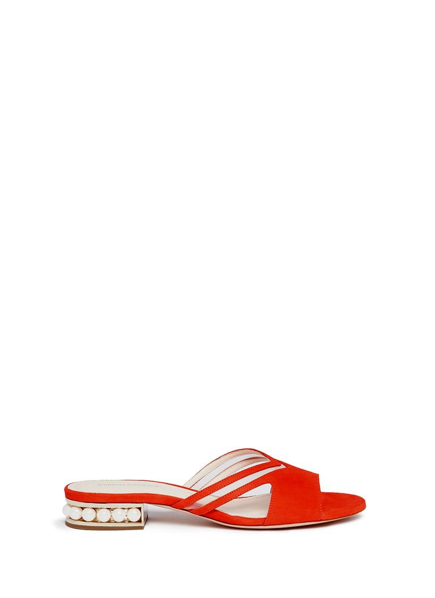 Casati Pearl cutout chevron suede slide sandals by Nicholas Kirkwood