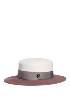 Maison Michel'Kiki' colourblock rabbit furfelt boater hat