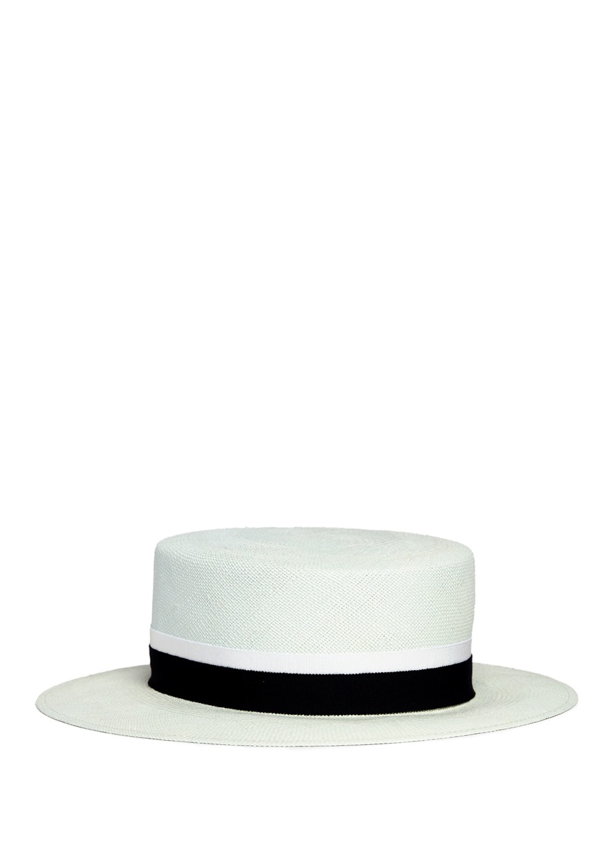 Kiki hemp straw boater hat by Maison Michel