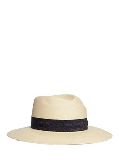 Maison Michel 'Virginie' ribbon band panama straw fedora hat