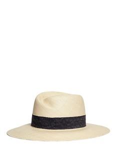 Maison Michel'Virginie' ribbon band panama straw fedora hat