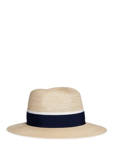 Maison Michel 'Henrietta' ribbon band hemp straw fedora hat