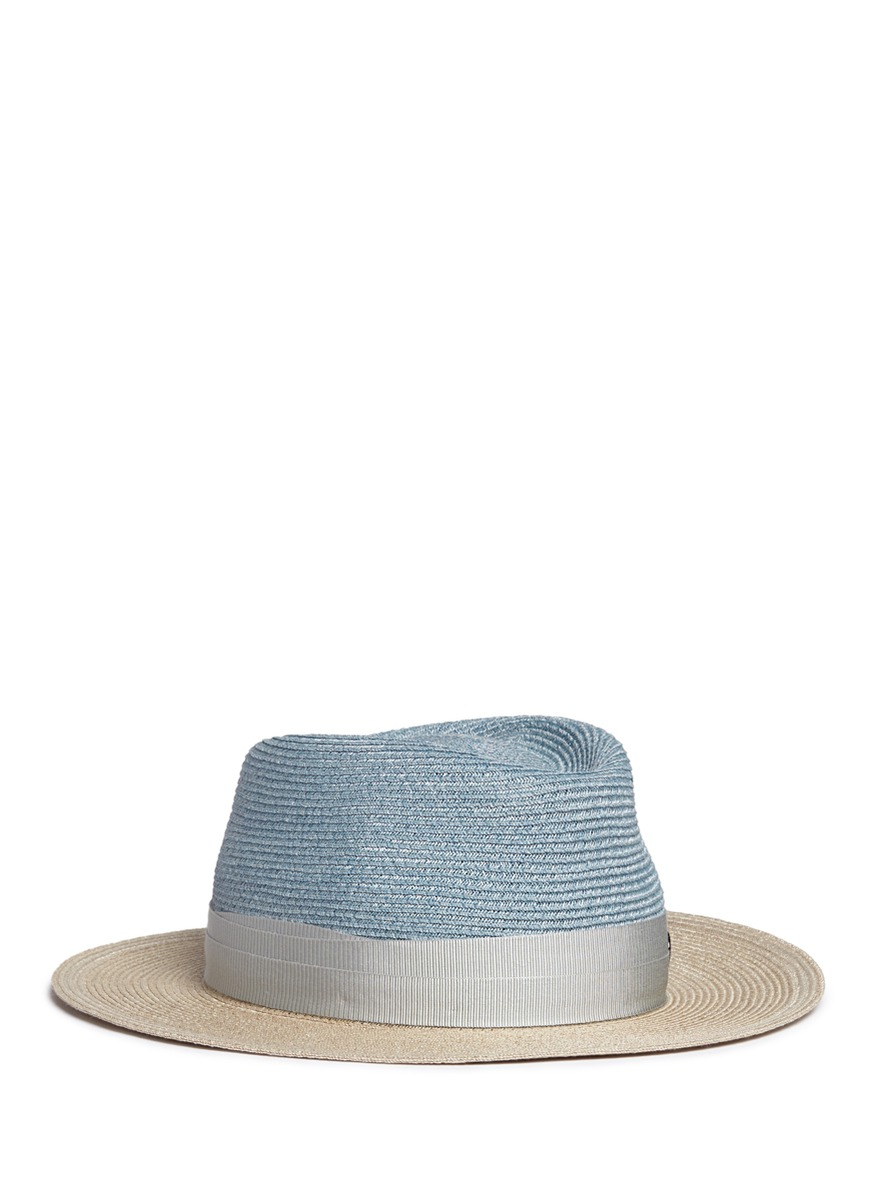 Thadee colourblock straw trilby hat by Maison Michel