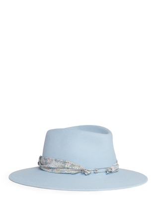 Main View - Click To Enlarge - Maison Michel - 'Pierre' floral band rabbit furfelt fedora hat