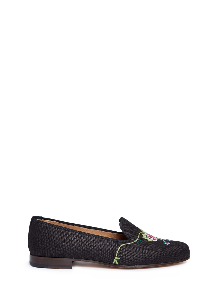 Orchard floral embroidered woven slip-ons by Stubbs & Wootton