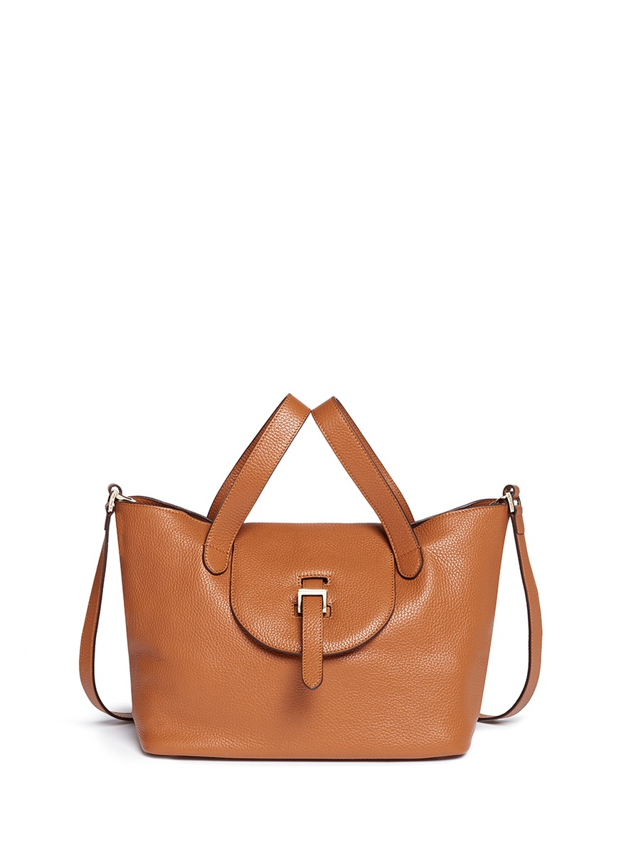 Thela medium pebbled leather trapeze tote by Meli Melo