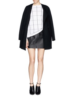 THEORY 'Keeta' lamb leather check embossed skirt