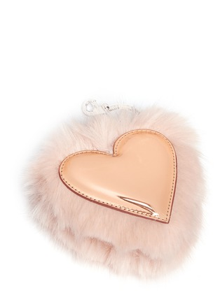 Detail View - Click To Enlarge - Stella McCartney - Faux fur trim metallic heart keychain