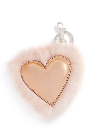 Main View - Click To Enlarge - Stella McCartney - Faux fur trim metallic heart keychain