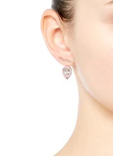 CARAT*'Soma' pear cut gemstone rose gold jacket earrings