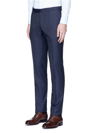 Front View - Click To Enlarge - Incotex - Slim fit diamond jacquard pants