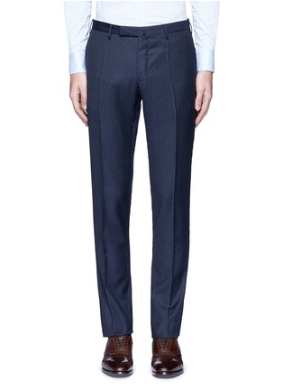 Main View - Click To Enlarge - Incotex - Slim fit diamond jacquard pants