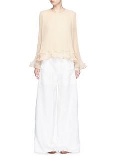 CHLOÉ Pleated georgette flare sleeve top
