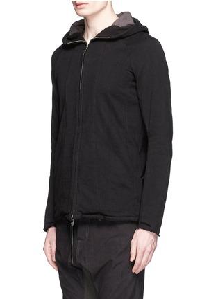 The Viridi-anne-Raw edge panelled zip hoodie