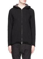 Raw edge panelled zip hoodie
