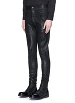 Coated twill slim fit pants