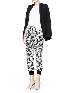 STELLA MCCARTNEY 'Joey' running horses print silk crepe pants