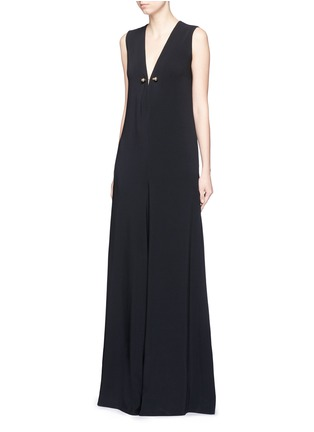 Front View - Click To Enlarge - Stella McCartney - Brass brooch wide flare leg crepe jumpsuit