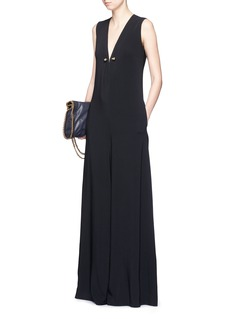 STELLA MCCARTNEY Brass brooch wide flare leg crepe jumpsuit