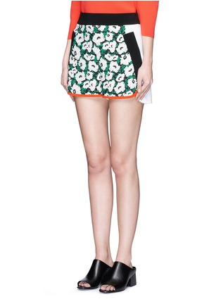 Front View - Click To Enlarge - Stella McCartney - 'Kristelle' poppy print colourblock shorts