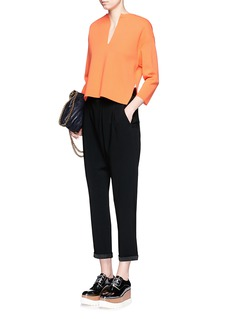 STELLA MCCARTNEY Dropped crotch satin trim cropped pants