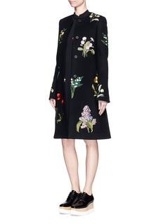 STELLA MCCARTNEY 'Nadia' floral embroidery felted wool blend coat