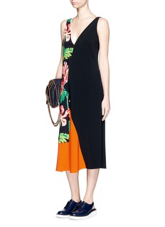 STELLA MCCARTNEY Poppy print colourblock cady dress